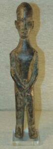 African Figural Wood Carving Sculpture on Lucite Base Unmarked