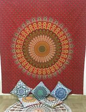 Bright Colorful Queen Tapestry Bohemian Bed-skirt Indian Mandala Wall Hanging