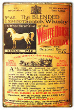White Horse Cellar Whiskey Reproduction Bar Metal Sign 12x18