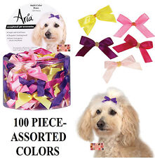 """100pc Multi Color SATIN RIBBON 3/8""""Wide DOG HAIR BOWS w/Elastic Groomer Grooming"""