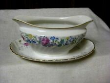 Syracuse China Berkley LILAC ROSE Gravy Boat w Attached Underplate EXC