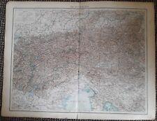 1900's colonial empire Cassell's world atlas sheet - Austrian Alps