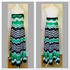 Green Black White Monsoon Strapless Maxi Dress Size 10 (6416)