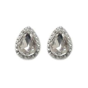 Simulated Diamond Tear Drop Stud Crystal Rhinestone 1920s Gatsby Bridal xx