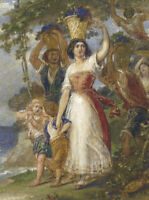 W.E. Frost RA - Very Fine Mid 19th Century Gouache, The Grape Gatherers
