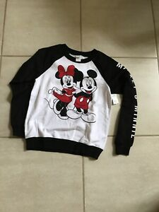 GIRLS Junior Size 3/5 Mickey Mouse & Minnie Mouse Sweatshirt Black & White
