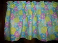 Lime Green Blue Purple Flowers kitchen bedroom fabric curtain topper Valance