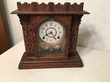 Rare Antique Gilbert Vigilant Mantle Clock Ornate Draped Dial Unusual