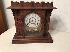 Rare Antique Gilbert Vigilant Mantle Clock Ornate Draped Dial Unusual