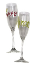 Hand painted Wifey Hubby Pink Green Wedding Champagne Flute Set Pair Wine Glass