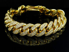 Link Bracelet 14K Yellow Gold Over 15Ct Round Brilliant Cut Diamond Cuban