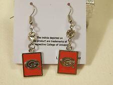 Georgia Bulldogs Silver and Red Earrings