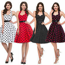 PolkaDot Womens Retro Swing Cocktail Evening Prom Party Dress 12 Halter Vintage