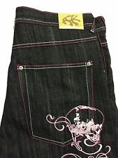Ak Cess Jeans Mens Size 38x34 Black Baggy Pink Embroidery NWOT