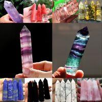 Natural Fluorite Amethyst Point Pink Rose Crystal Quartz Healing Hexagonal Wand