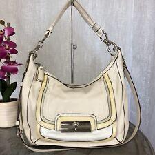 COACH 18287 Kristen Spectator Ivory Leather Croc Trim  Hobo Shoulder Bag