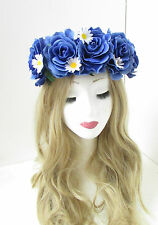 Large Blue White Rose Daisy Flower Hair Crown Garland Festival Headband Boho 35
