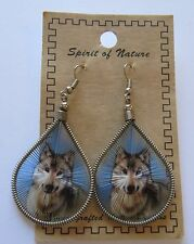 Spirit of Nature Earrings thread - WOLF--blue background french wire