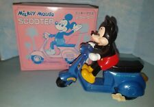 Mickey Mouse Blue Scooter Wind-Up Toy Vintage Masudaya from Japan