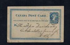 "Canada. 1881. Reine Victoria 1 C bleu P.S. carte. ""Toronto"" RECTO VERSO TIMBRE Dateur."