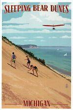 Sleeping Bear Dunes, Michigan, Sand Climb Sailing Hang Gliding - Modern Postcard