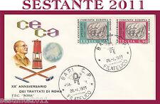 ITALIA FDC ROMA C.E.C.A. CECA CARBONE ACCIAIO TRATTATI 1971 ANNULLO BARI  G308