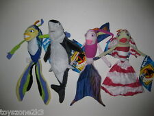 """** L@@K ** Set of 4 Shark Tale Plush 11"""" - 12"""" BRAND NEW with TAGS !!"""