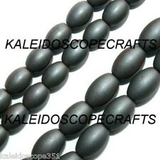 """FROSTED HEMATITE BEADS 5X8MM RICE OVAL BEAD 16"""" STRANDS"""