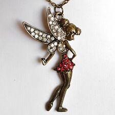 Pixie Fee Tinkerbell Angel Big Chain Vintage Rhinestone Wing Red Dress