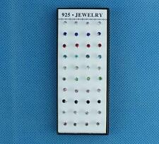 Wholesale Lots 40pcs LF Silver CZ Zircon Stud Earrings 3mm