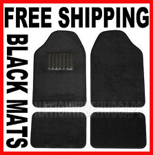 BLACK New Set of 4 Carpet Front & Rear Floor Mat Mats Liner Liners Car Truck SUV