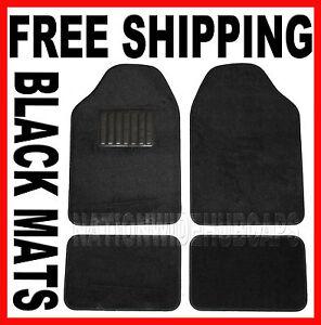BLACK New Set of 4 Carpet Front & Rear Floor Mat Mats Liner Liners Car Truck SUV