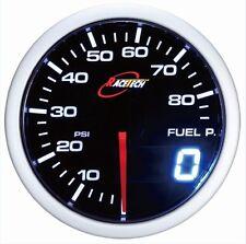 52mm 60mm Digital Dual Gauge Fuel Pressure Meter WHITE/RED Smoke LED PSI/BAR