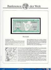 Banknotes of World Burundi 1989 10 Francs UNC P-33b Prefix AF