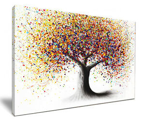 Rainbow Soul Tree HD Framed Canvas Wall Art Picture Print