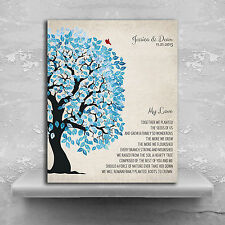 (LT-1279) Personalized Family Tree Blue And White My Love Poem Wedding Gift S...