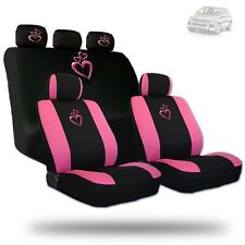 Deluxe Pink Heart Car Seat Covers and Headrest Covers Gift Set For VW
