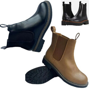 Womens Ankle Chelsea Boots Ladies Flats Low Wedge Heels Gusset Office Shoes Size