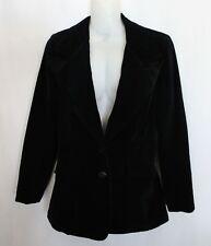 VINTAGE 1970S ~ Glam Goth Black Velvet Blazer Jacket w Sharp Lapels 8