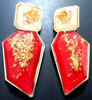 "HUGE 3"" Inch Red & Gold Confetti Bezel Set Lucite Runway Earrings!"