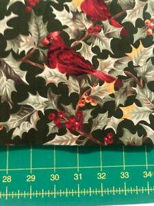 1 yard - MODA - Woodland Greetings 100% cotton NEW! bolt end holly cardinal