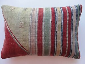 "Red Lumbar Kilim Pillow Cover 14"" x 20"" Tribal pillow Cushion Throw Kelim Kissen"
