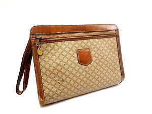 Authentic Celine Macadam Clutch Bag Pouch PVC Vintage