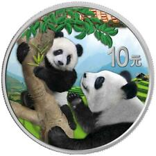 China - 10 Yuan 2021 - Panda - in Farbe - mit Produktkarte - 30 gr Silber ST