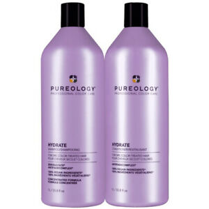 Pureology Hydrate Shampoo and Conditioner Liter Duo Set 33.8oz each NEW BOTTLES