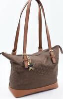 TOMMY HILFIGER Small Monogram Fabric Shoulder Bag, Handbag, Chocolate/Tan