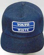 RARE Vtg 1970s VOLVO WHITE TRUCKS CAR PATCH FULL DENIM HAT SNAPBACK TRUCKER HAT