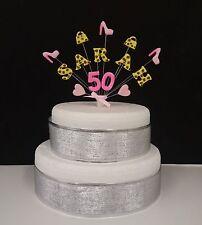 Bolso de mano, Zapato Estampado de Leopardo Cumpleaños Cake Topper/Decoración Personalizada