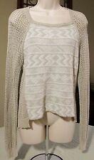 Sweater Top Shirt Rachel Roy Sweater Loose Open Weave SMALL tan #5023 NEW