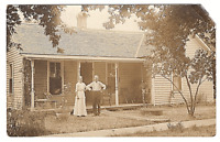 Vintage Postcard RPPC Real Picture 1916 Man Woman in front of House K3